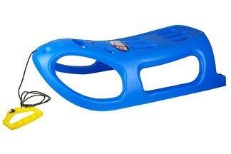 Duże plastikowe sanki dla dzieci Little Seal niebieskie z linką i rączką