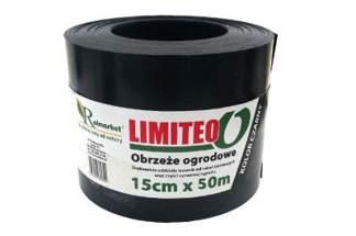 Obrzeże trawnikowe ogrodowe czarne, proste 15cm x 50m LIMITEO