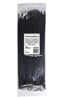Opaski kablowe czarne 3,6x300mm (100 szt.)