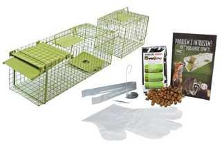 Pułapka na kuny, szczury, drobne gryzonie, łasice – jednostronna żywołapka zielona KM1 z  komorą