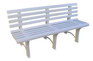 Solidna plastikowa ławka ogrodowa ATENA z oparciem - biała