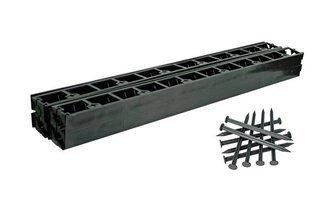Zestaw obrzeży ogrodowych (trawnikowych) 8 szt. Bordeo R5 45mm x 1m – kolor czarny + 20 kotew