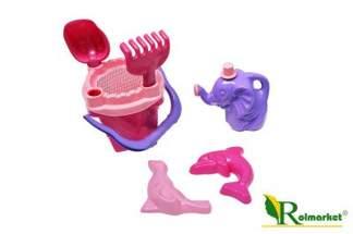 """Zestaw zabawek do piasku """"Zamek""""- różowo fioletowy, 7 elementów"""
