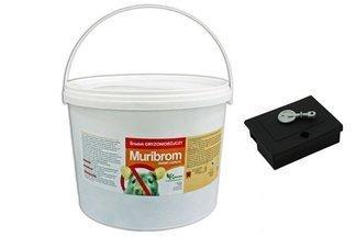 Trutka zbożowa na myszy, szczury i nornice Muribrom 5 kg + Gratis karmnik deratyzacyjny MOUSE BOX z kluczykiem