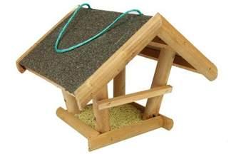 Drewniany karmnik dla ptaków kryty papą – z zawieszką T0015.P