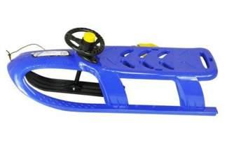 Duże plastikowe sanki dla dzieci Bullet Control ISPC niebieskie z kierownicą i linką