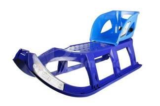 Duże plastikowe sanki dla dzieci Tatra niebieskie z linką i rączką + siedzisko Seat1