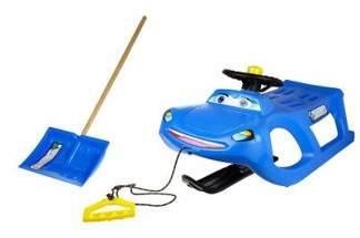 Duże plastikowe sanki dla dzieci ZIGI-ZET control ISZGC niebieskie z kierownicą i linką + łopata GRATIS