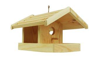 Duży karmnik dla ptaków zasypowy - z drewna palonego