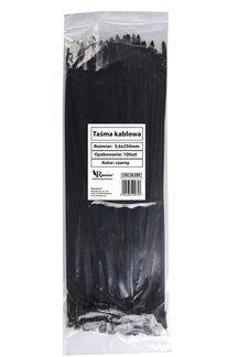 Opaski kablowe czarne 3,6x250 mm (100 szt.)