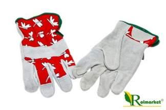Rękawice ogrodowe skórzane czerwono-szare CB304K Agrosimex - rozmiar M-8 dla kobiet