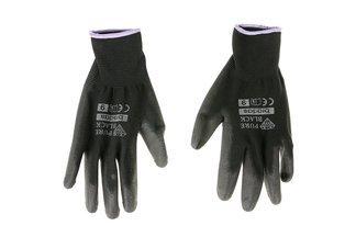 Rękawice robocze poliestrowe ochronne PURE BLACK rozmiar 9