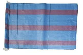 Worek polipropylenowy 50kg niebieski z 3 czerwonymi paskami, 65x105cm (1000 szt.)