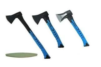 Zestaw 3 siekier do rozłupywania z trzonkiem z włókna szklanego JOBIextra XT066, XT040, XT042 + osełka GRATIS