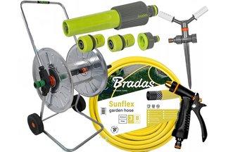 Zestaw ogrodowy: wąż Sunflex 3/4 50m + wózek metalowy + pistolet Profi + złączki + GRATIS !