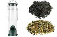 Transparentny karmnik dla ptaków Ptasia Biesiada™ + pokarm zimowy 5 kg Standard  + słonecznik czarny 5 kg