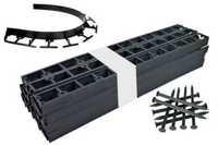 Zestaw obrzeży ogrodowych (trawnikowych) 100 szt. Bordeo R5 45mm x 1m – kolor czarny + 300 kotew