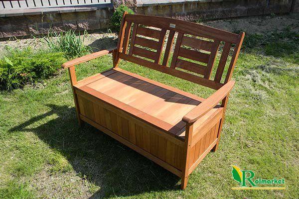 Meble Ogrodowe Z Drewna Egzotycznego Pielegnacja : Ławka ogrodowa drewniana (z drewna egzotycznego) ze skrzynią Villa