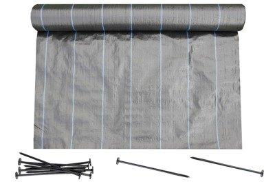 Agrotkanina czarna 0,4x100m (70g) + szpilki mocujące 19 cm (50 szt)