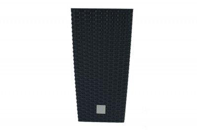 Doniczka dekoracyjna DRTS 265 z wkładem wewnętrznym o strukturze ratanu - kolor antracyt, wysokość 50 cm