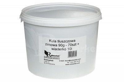 Kula tłuszczowa zimowa dla ptaków 90g Natural-Vit 70szt folia + wiaderko 10l